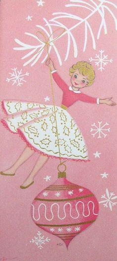 sweet pink vintage Christmas card                                                                                                                                                      More