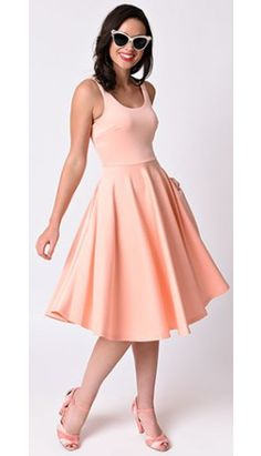 Retro Style Peach Sleeveless Scuba Knit Stretch Midi Swing Dress