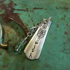 Stamped Vintage Upcycled Spoon Fork Jewelry Pendant - Wish - Wire Tied Bead Charms by JuLieSJuNQueTiQue on Etsy