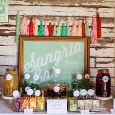 Swap the mimosa bar out for a sangria bar for the bachelorette party! Sangria Bar, Mimosa Bar, Sangria Wedding, Party Fiesta, Festa Party, Mexican Bridal Showers, Adult Party Themes, Couple Shower, Party Planning