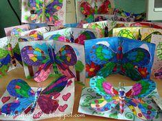 enlastejasverdes01bis Kindergarten Drawing, Kindergarten Art Projects, Kindergarten Lessons, Art Lessons Elementary, School Art Projects, Butterfly Crafts, Butterfly Art, Butterflies, Color Art Lessons