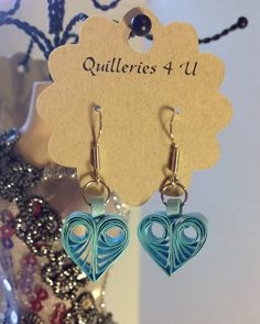 Paper Quilled Blue Heart Earrings   Dangle Stud by Quilleries4U