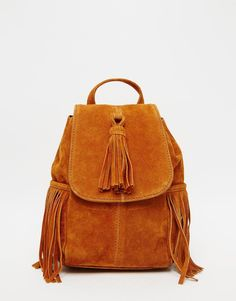 ASOS+Mini+Suede+Backpack+With+Tassels