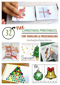 32 free Christmas printables for toddlers and preschoolers - easy activities that include math, literacy, and color recognition!