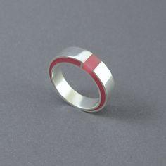 Zilver hars ring modern roze hars hoogglans sterling door MissSilver