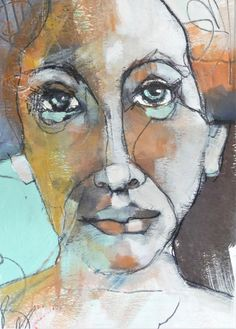 The Raw of Silence - Jeanne Oliver Abstract Portrait, Watercolor Portraits, Portrait Art, Watercolor Art, Abstract Art, Portrait Paintings, Drawing Skills, Figure Drawing, Life Drawing