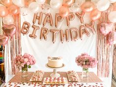 40th Birthday Balloons, 18 Birthday Party Decorations, Gold Birthday Party, Birthday Party For Teens, 13th Birthday, Gold Party Decorations, Party Themes, Birthday Ideas, Birthday Gifts