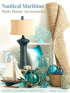Nautical Maritime Style Home Decor: http://www.completely-coastal.com/2015/08/nautical-maritime-style-home-decor.html