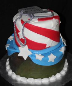 Camouflage and Flag Cake