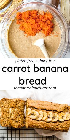 This Carrot Banana Bread is going to be your new favorite healthy breakfast recipe! Easy to make, naturally gluten free, dairy-free and so delicious! free recipes for kids glutenfree Carrot Banana Bread (gluten free) Banana Carrot Bread, Gluten Free Banana Bread, Healthy Banana Bread, Banana Bread Recipes, Carrot Bread Recipe Healthy, Healthy Sweets, Healthy Breakfast Recipes, Healthy Baking, Healthy Recipes