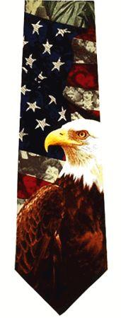 American Flag Silk Necktie