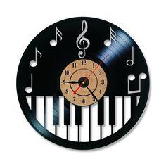 Hollow Piano Keybord Vinyl Record Clock