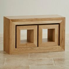 Cairo Natural Solid Oak Set of 3 Cube Nest of Tables
