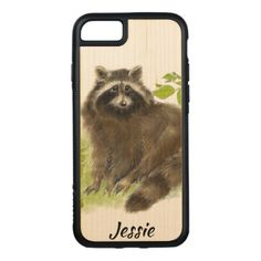Cute Watercolor Raccoon Animal nature art Carved iPhone 8/7 Case - watercolor gifts style unique ideas diy