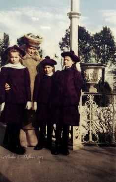 Tsarina Alexandra with Olga, Maria and Tatiana.