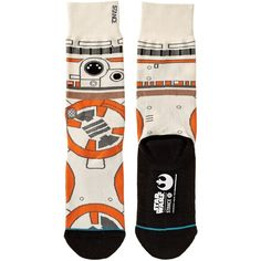 Stance BB8 (Tan) Men's Crew Cut Socks ($20) ❤ liked on Polyvore featuring men's fashion, men's clothing, men's socks, mens seamless socks, mens socks, stance mens socks and mens crew socks