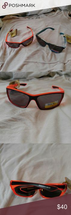 2 pair of Panama Jack Sunglasses Brand new with tags Never been worn.  Orange and black and blue with a hint of yellow, red, black.  Unisex style.  Scratch and break resistant. Panama Jack Accessories Glasses