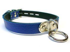 Blue Leather BDSM slave Collar - Plated Bondage Ring