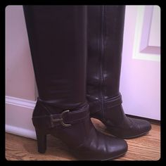 Brown faux leather boots! Great condition  17 in tall with 3 in heel. Only worn a few times b/c a little small for me.  Great condition! Shoes Combat & Moto Boots