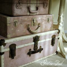DIY:  Suitcase Makeover - tutorial goes through the steps taken to get these awesome finishes!
