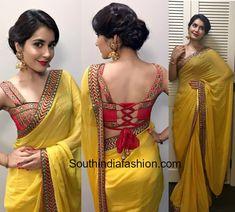 raashi_khanna_shilpa_reddy_yellow_saree_tie_back_blouse_bathukamma.jpg (853×768)