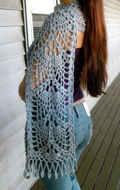 abe16dfc51280 Extra Long Light Grey Crochet Lace Scarf by SoLace on Etsy