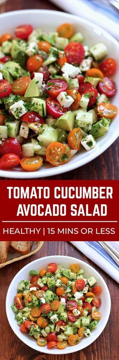Lovely This tomato cucumber avocado salad is an easy healthy flavorful salad. Its crunchy fresh and simple to make. Its a family favorite and ready in less than 15 minutes. The post This tomato cucumber avocado salad i . Cucumber Avocado Salad, Avocado Salad Recipes, Avocado Salat, Healthy Salad Recipes, Vegetarian Recipes, Healthy Meals, Cucumber Ideas, Avocado Dessert, Healthy Weight