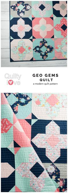 Geo Gems quilt pattern by Emily of Quiltylove.com.  Modern solids quilt   pattern.  Fat quarter   friendly quilt pattern.
