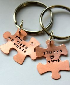 Puzzle Piece Keychain, Personalized Valentines Day Gift For Boyfriend And Girlfriend, Puzzle Piece Couple,  Anniversary , Valentines For Him. $23.50, via Etsy.