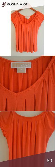 Michael Kors Orange Cap Sleeve Pleated Top Excellent condition MICHAEL Michael Kors Tops Blouses