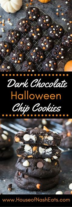 light blue, halloween desserts Dark Chocolate Halloween Chip Cookies have a super soft and black-as-night dark chocolate cookie base that is studded with sweet white chocolate chips and creamy peanut butter chips for a frighteningly delicious treat! Halloween Desserts, Postres Halloween, Hallowen Food, Halloween Food For Party, Holiday Desserts, Holiday Baking, Holiday Treats, Halloween Treats, Holiday Recipes