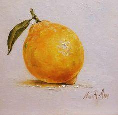 Lemon with Leaf  Still Life Original Oil por NinaRAideStudio