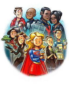 Team Super - Kara Danvers - Alex Danvers - Maggie Sawyer - Lena Luthor - James Olsen - Winn Schott - Mon-El of Daxam - J'onn J'onzz - M'gann M'orzz - Supergirl