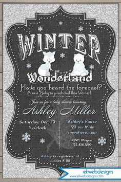 Winter Wonderland Baby Shower Invitation - silver glitter and chalkboard background