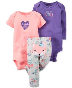 6d0e7b9a43d Carter s Baby Girls  3-Pc. Bodysuits   Pants Set Kids - Sets   Outfits -  Macy s