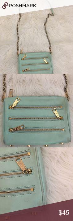 Rebecca minkoff purse Cross body purse Worn see pick please! Mint Color Rebecca Minkoff Bags Crossbody Bags