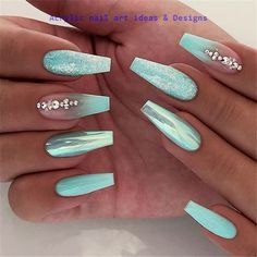 Attractive Acrylic Green and Blue Glitter Coffin NailsTo .- attractive acrylic green and blue glitter coffin nails to make this winter – - Best Acrylic Nails, Acrylic Nail Art, Acrylic Nails For Summer Glitter, Turquoise Acrylic Nails, Blue Glitter Nails, Glitter Balloons, Glitter Force, Nails Acrylic Coffin Glitter, Nail Art Blue