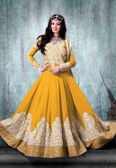 Buy Golden Orange Faux Georgette Abaya Style Churidar Kameez online, work: Embroidered, color: Orange, usage: Wedding, category: Salwar Kameez, fabric: Georgette, price: $177.44, item code: KCR7283, gender: women, brand: Utsav
