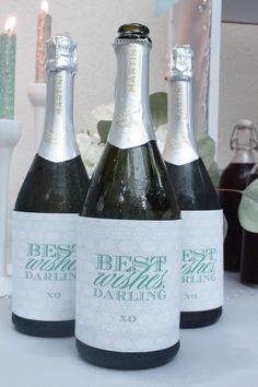 Bridal Shower-Breakfast at Tiffany's shower; custom champagne bottle covers.