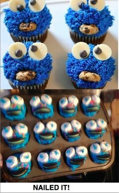 Tried to make cookie monster cupcakes...