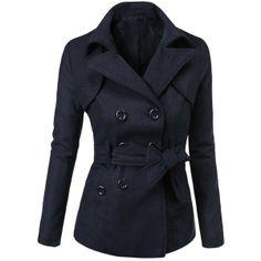 Doublju Double Breasted Pea Coat Jacket ($45) found on Polyvore