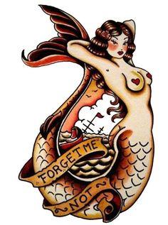 Sailor Jerry Tattoo, Forget Me Not Mermaid, Vulture Graffix T Shirt Design, http://vulturegraffix.onlineshirtstores.com/:
