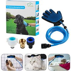 YIPBOWPT Pet Bathing Tool, Shower Sprayer Massage Scrubber Grooming Glove With 3 Faucet Adapter 7.5ft Blue Hose For Dog Cat Horse Indoor Outdoor Use ** Visit the image link more details. (This is an affiliate link) #dogshowerbathaccessories