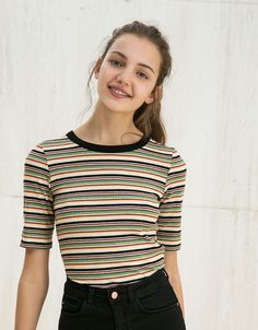 T-shirt BSK rayures multicolores - Tee-shirts - Bershka France