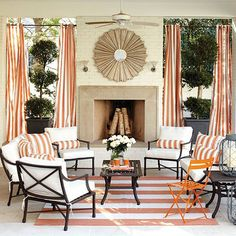 Open the doors and embrace your space for outdoor living. Shop for items in the Suzanne Kasler Directoire Outdoor Furniture Collection on the official Ballard Designs website. Outdoor Drapes, Outdoor Rooms, Indoor Outdoor, Outdoor Living, Outdoor Decor, Outdoor Areas, Outdoor Cabana, Patio Curtains, Outdoor Retreat
