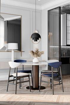 Ideas Design Interior Geometric Furniture For 2019 Geometric Furniture, Furniture Design, Apartment Interior Design, Home Interior, Glamour Décor, Hollywood Glamour, Neoclassical Interior Design, Rooms Ideas, Dining Table Design
