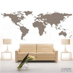 Wall decal Connected DOTS WORLD MAP Surface graphics interior decor by Decals Murals (45x115) via Etsy 87.00