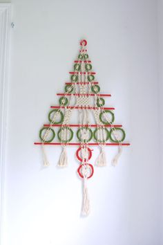 Vintage macrame Christmas tree wall hanging boho by fuzzymama on Etsy