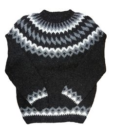 Wool Sweater pullover - Black Heather - White/Grey Pattern