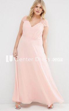 Sheath V-Neck Cap-Sleeve Long Chiffon Bridesmaid Dress With Illusion - UCenter Dress